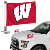 "Wisconsin Badgers Ambassador 4"" x 6"" Car Flag Set of 2"