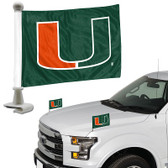 "Miami Hurricanes Ambassador 4"" x 6"" Car Flag Set of 2"