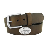 Kansas State Wildcats Concho Brown Leather Belt 46