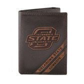 Oklahoma Sooners Trifold Debossed Leather Wallet