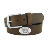 South Carolina Gamecocks Concho Brown Leather Belt 46