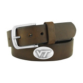 Virginia Tech Hokies Concho Brown Leather Belt 46