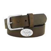 West Virginia Mountaineers Concho Brown Leather Belt 46