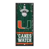 Miami Hurricanes Sign Wood 5x11 Bottle Opener