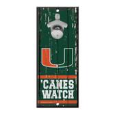 Miami Hurricanes Sign Wood 5x11 Bottle Opener