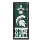 Michigan State Spartans Sign Wood 5x11 Bottle Opener