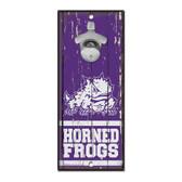 TCU Horned Frogs Sign Wood 5x11 Bottle Opener