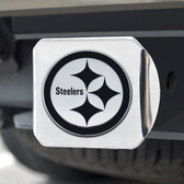 Pittsburgh Steelers Hitch Cover Chrome Emblem on Chrome