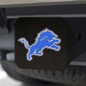 Detroit Lions Hitch Cover Color Emblem on Black