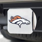 Denver Broncos Hitch Cover Color Emblem on Chrome