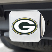 Green Bay Packers Hitch Cover Color Emblem on Chrome