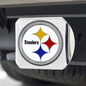 Pittsburgh Steelers Hitch Cover Color Emblem on Chrome
