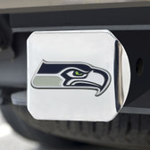 Seattle Seahawks Hitch Cover Color Emblem on Chrome