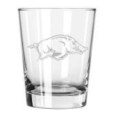 Arkansas Razorbacks Etched 15 oz Double Old Fashioned Glass