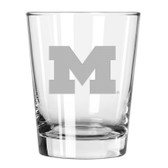 Michigan Wolverines Etched 15 oz Double Old Fashioned Glass