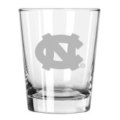 North Carolina Tar Heels Etched 15 oz Double Old Fashioned Glass
