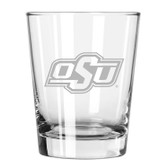 Oklahoma State Cowboys Etched 15 oz Double Old Fashioned Glass