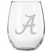 Alabama Crimson Tide Etched 15 oz Stemless Wine Glass Tumbler