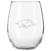 Arkansas Razorbacks Etched 15 oz Stemless Wine Glass Tumbler