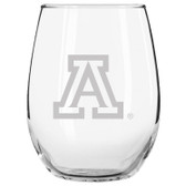 Arizona Wildcats Etched 15 oz Stemless Wine Glass Tumbler