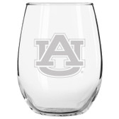 Auburn Tigers Etched 15 oz Stemless Wine Glass Tumbler