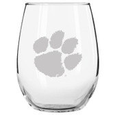 Clemson Tigers Etched 15 oz Stemless Wine Glass Tumbler