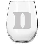 Duke Blue Devils Etched 15 oz Stemless Wine Glass Tumbler