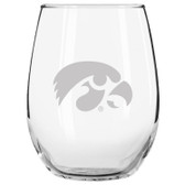 Iowa Hawkeyes Etched 15 oz Stemless Wine Glass Tumbler