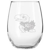 Kansas Jayhawks Etched 15 oz Stemless Wine Glass Tumbler