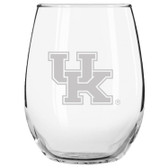 Kentucky Wildcats Etched 15 oz Stemless Wine Glass Tumbler