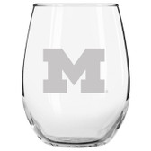 Michigan Wolverines Etched 15 oz Stemless Wine Glass Tumbler