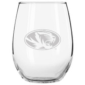 Missouri Tigers Etched 15 oz Stemless Wine Glass Tumbler