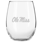 Ole Miss Rebels Etched 15 oz Stemless Wine Glass Tumbler