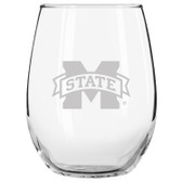 Mississippi State Bulldogs Etched 15 oz Stemless Wine Glass Tumbler