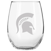 Michigan State Spartans Etched 15 oz Stemless Wine Glass Tumbler