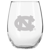North Carolina Tar Heels Etched 15 oz Stemless Wine Glass Tumbler