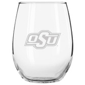 Oklahoma State Cowboys Etched 15 oz Stemless Wine Glass Tumbler