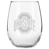 Ohio State Buckeyes Etched 15 oz Stemless Wine Glass Tumbler