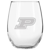 Purdue Boilermakers Etched 15 oz Stemless Wine Glass Tumbler