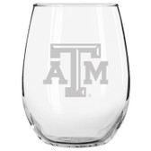 Texas A&M Aggies Etched 15 oz Stemless Wine Glass Tumbler