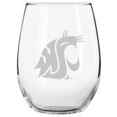Washington State Cougars Etched 15 oz Stemless Wine Glass Tumbler