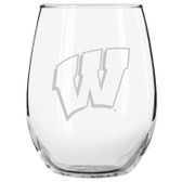 Wisconsin Badgers Etched 15 oz Stemless Wine Glass Tumbler