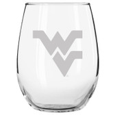 West Virginia Mountaineers Etched 15 oz Stemless Wine Glass Tumbler