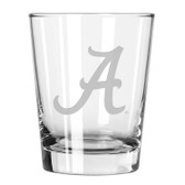 Alabama Crimson Tide Etched 15 oz Double Old Fashioned Glass Set of 2