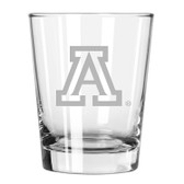 Arizona Wildcats Etched 15 oz Double Old Fashioned Glass Set of 2