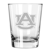 Auburn Tigers Etched 15 oz Double Old Fashioned Glass Set of 2
