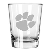 Clemson Tigers Etched 15 oz Double Old Fashioned Glass Set of 2