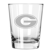 Georgia Bulldogs Etched 15 oz Double Old Fashioned Glass Set of 2