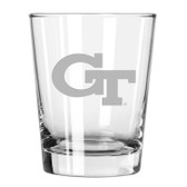 Georgia Tech Yellow Jackets Etched 15 oz Double Old Fashioned Glass Set of 2