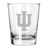 Indiana Hoosiers Etched 15 oz Double Old Fashioned Glass Set of 2